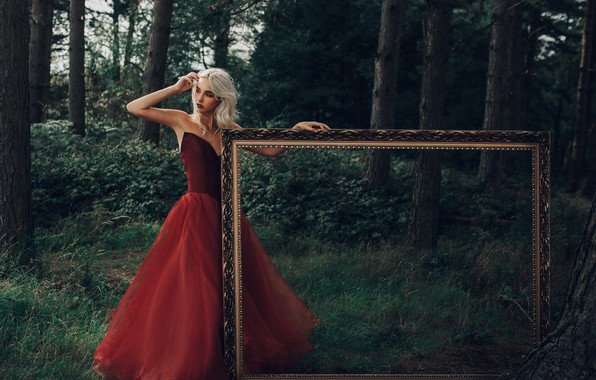 Picture forest, girl, mood, frame, red dress