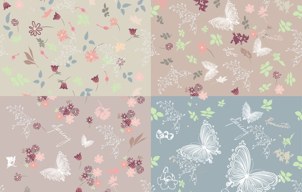 Picture butterfly, flowers, background, vector, texture, background, pattern, butterflies