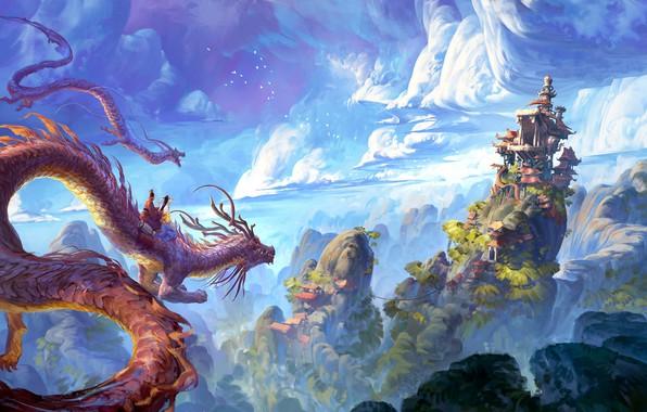 Picture China, house, fantasy, sky, landscape, nature, clouds, hills, castle, digital art, artwork, fantasy art, pagoda, …