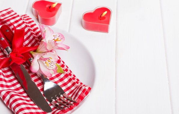 Picture flowers, candles, knife, hearts, red, plug, flowers, romantic, hearts, Valentine's Day, candles