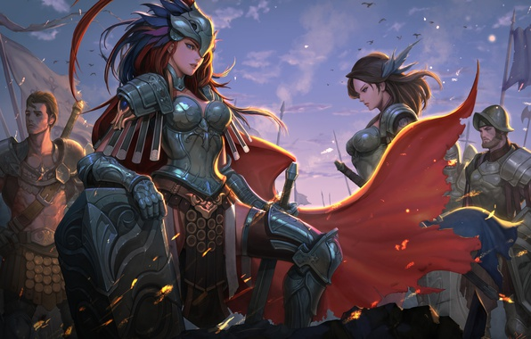 Photo Wallpaper Girl Sword Fantasy Soldier Armor Warrior Artwork