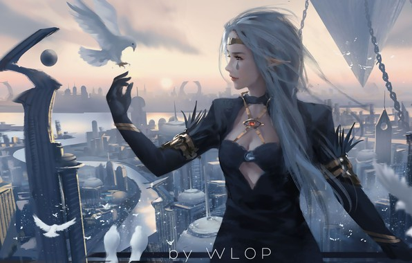 Picture city, girl, fantasy, long hair, dress, birds, tattoo, elf, digital art, dove, buildings, artwork, princess, …