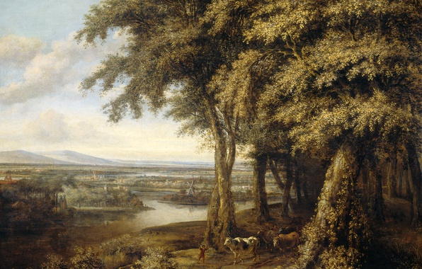 Picture landscape, oil, picture, canvas, The Edge Of The Forest, Philips Koninck