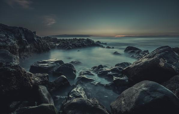Picture Clouds, Sky, Water, Ocean, Stones