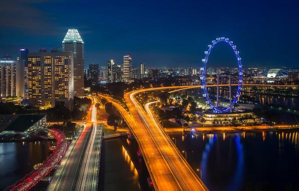Picture road, landscape, The city, River, Skyscrapers, Ferris Wheel, Night city