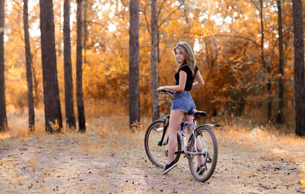 Picture autumn, forest, girl, trees, nature, bike, Park, mood, stay, shorts, sneakers, figure, t-shirt, hairstyle, brown …