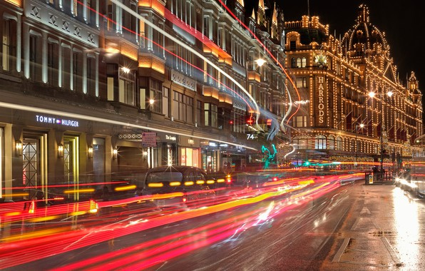 Picture night, lights, holiday, street, England, London, home, Christmas