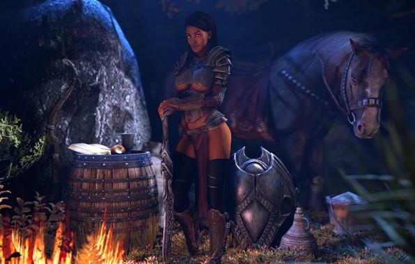 Picture girl, night, rendering, fire, horse, sword, barrel, skyrim