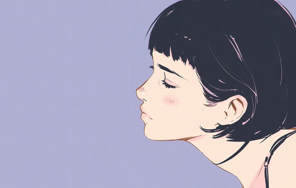 Picture face, haircut, profile, neck, bangs, closed eyes, lilac background, portrait of a girl, Ilya Kuvshinov