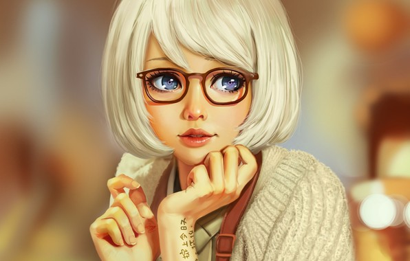 Picture face, haircut, hands, tattoo, glasses, blue eyes, white hair, art, sweater, blurred background, bangs, portrait …