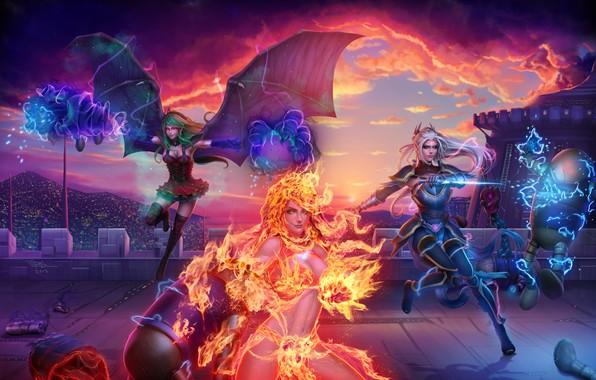 Picture girl, fire, elf, the demon, vampire, witch, art, elemental, Lana Solaris, Antalya