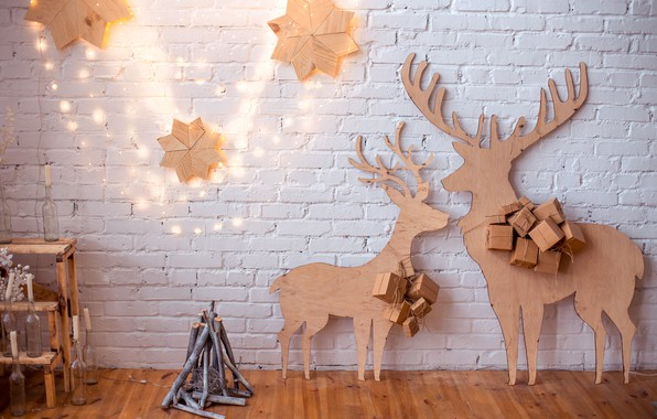 Picture snow, decoration, toys, New Year, Christmas, gifts, garland, happy, Christmas, vintage, wood, snow, New Year, ...