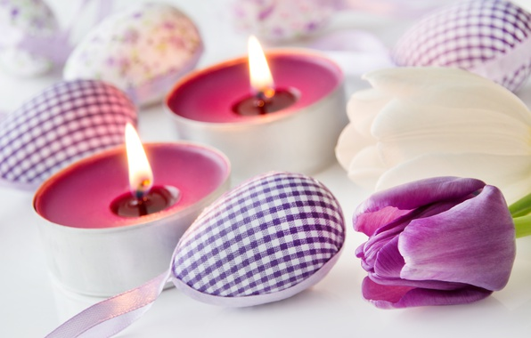 Picture flowers, spring, candles, Easter, tulips, happy, flowers, tulips, spring, Easter, eggs, delicate, decoration