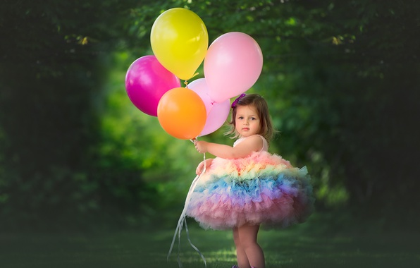 Picture balls, balloons, mood, dress, girl
