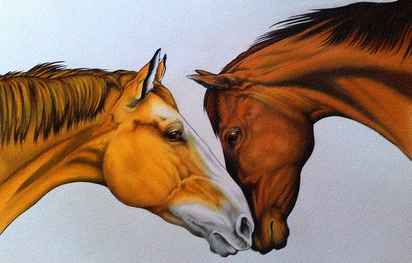 Picture tenderness, figure, horses, pair, painting, red and brown