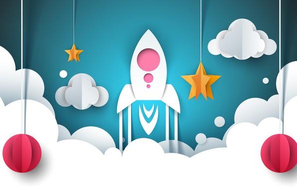 Picture Background, Rocket, Start, Rendering, Obloka
