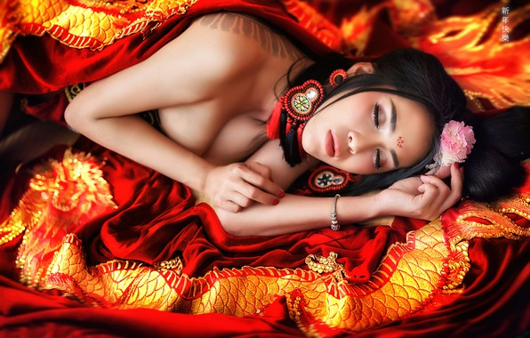 Picture face, mood, sleep, the situation, earrings, hands, Asian, sleeping girl