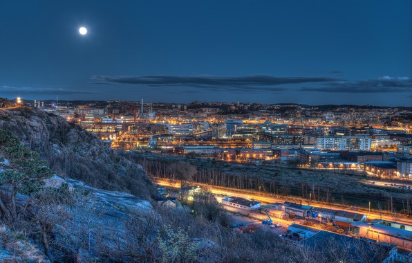 Picture the sky, night, lights, the moon, home, Sweden, Gothenburg