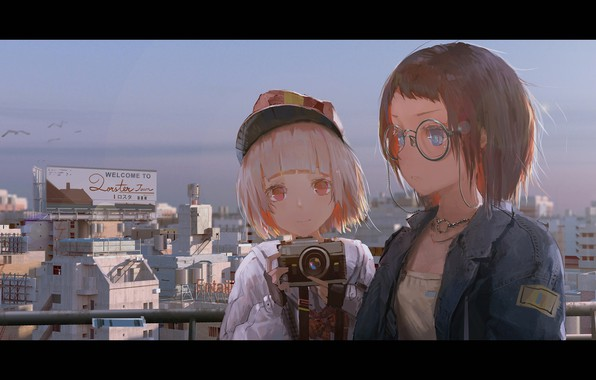 Picture the city, smile, girls, home, anime, art, glasses, cameras, novelance