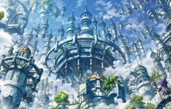 Wallpaper the city, castle, anime, art images for desktop ...
