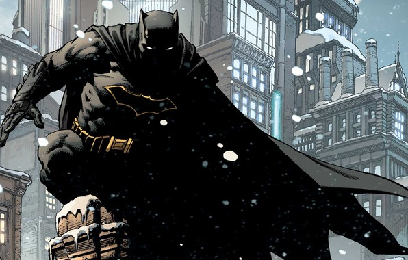 Picture Winter, The city, Snow, Batman, Costume, Building, City, Roof, Hero, Mask, Comic, Cloak, Superhero, Hero, …