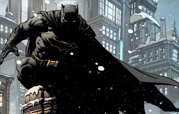 Picture Winter, The city, Snow, Batman, Costume, Building, City, Roof, Hero, Mask, Comic, Cloak, Superhero, Hero, …