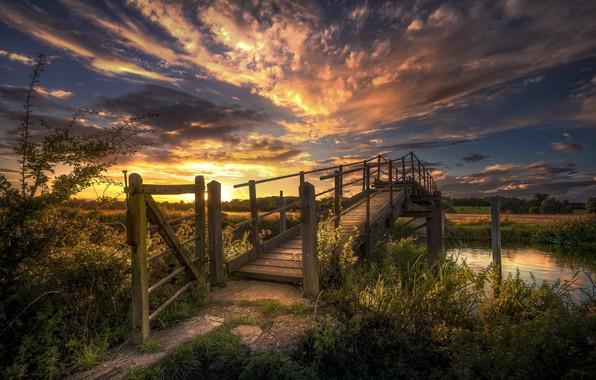 Picture Sunset, Bridge, Landscape