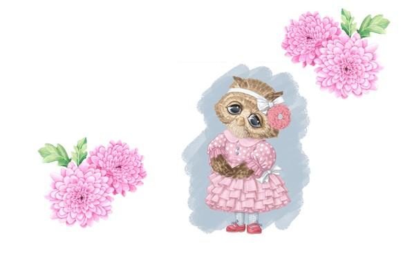 Picture flowers, mood, owl, figure, art, pencil, bow, children's, dress