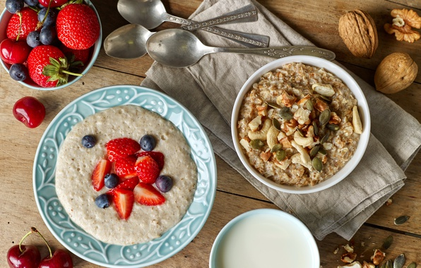 Picture berries, Breakfast, blueberries, nuts, breakfast, muesli, oatmeal