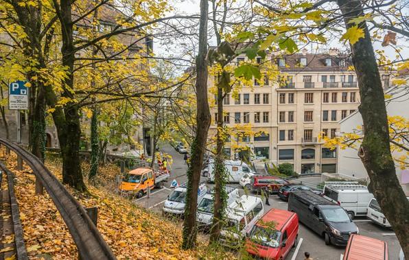 Photo wallpaper Autumn, Switzerland, Fall, Foliage, Switzerland, Autumn, Geneva, Falling leaves, Leaves, Geneva