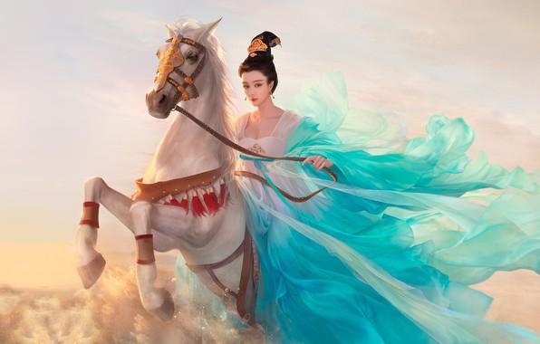 Picture girl, horse, rider, art, fantasy, Da congjun, fanbingbing