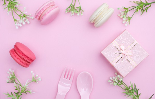 Picture flowers, gift, love, pink, pink, flowers, beautiful, romantic, gift, macaroon, macaron, tender, macaroon