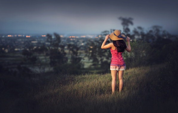 Picture girl, the city, view, hat, Edie Layland
