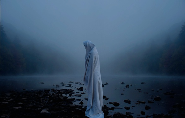 Picture fog, river, figure, sheet