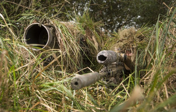 Picture sniper, camouflage, rifle, partner