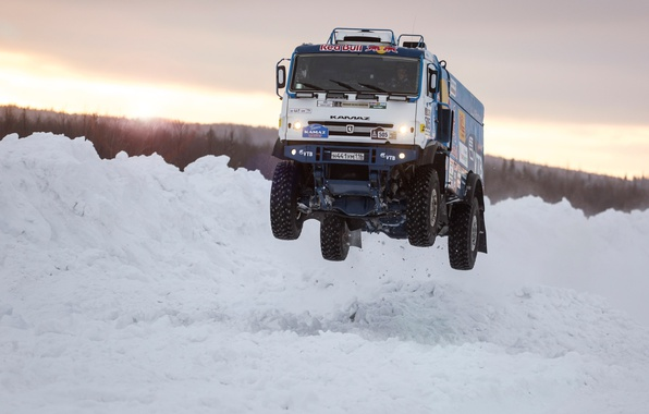 Picture Winter, Snow, Speed, Jump, Truck, Master, Day, Russia, Kamaz, Rally, KAMAZ, Power, Cold, RedBull, Master, …