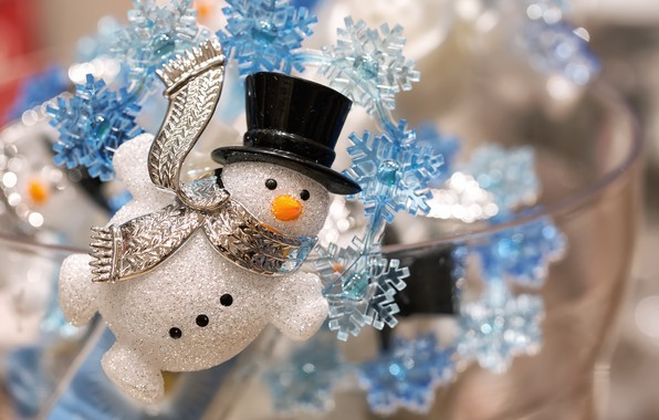 Picture snowflakes, Christmas, New year, snowman, decoration, decoration