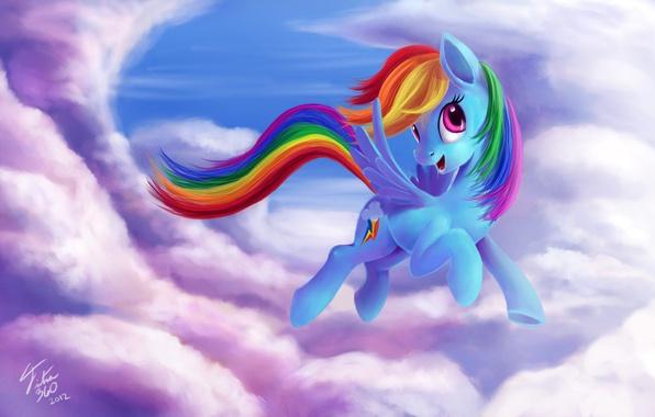 Picture the sky, cartoon, art, Rainbow Dash, My Little Pony: Friendship is Magic, MLP:FiM, by Tsitra360