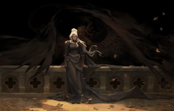 Picture girl, darkness, wings, petals, the demon, art