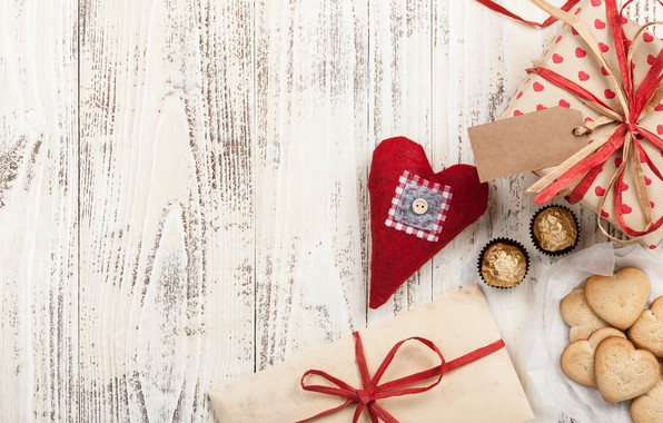 Picture love, gift, heart, cookies, candy, hearts, love, wood, romantic, hearts, chocolate, Valentine's Day, gift