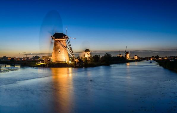Picture night, lights, channel, Netherlands, windmill, Kinderdijk