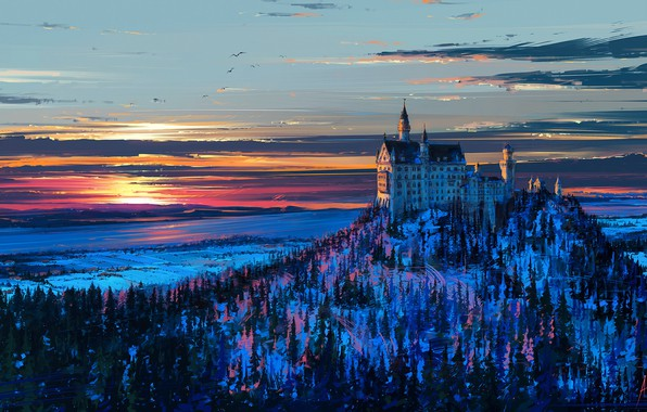 Picture winter, the sky, snow, trees, landscape, sunset, birds, castle, figure, mountain, Germany, Bayern, art, Neuschwanstein