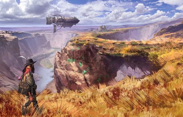 Picture grass, fantasy, airship, river, sky, field, clouds, man, artist, digital art, artwork, fantasy art, fall, …