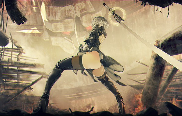 Photo wallpaper Girl, Ass, The game, Fire, Girl, Sword, Feet, Fire, Legs, Art, Ass, Sexy, Art, Sexy, ...