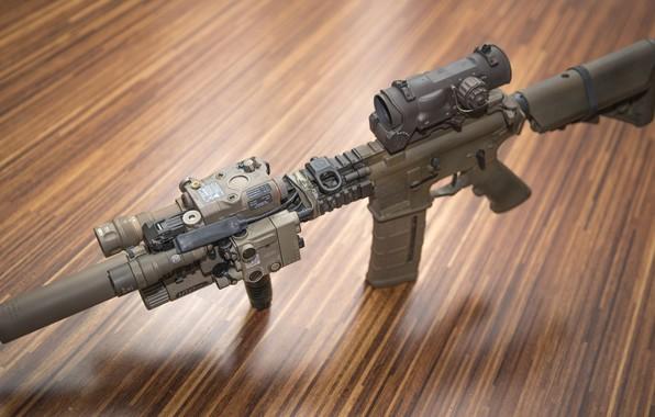 Picture background, optics, muffler, assault rifle