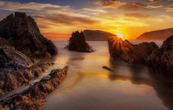 Picture sea, the sun, sunset, rocks