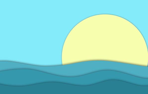 Picture ocean, blue, water, sun