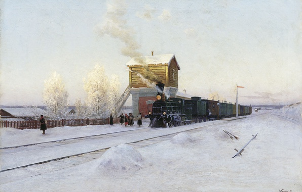 Picture snow, train, the snow, 1891, At the station, Winter morning at the Ural railway, Vladimir …