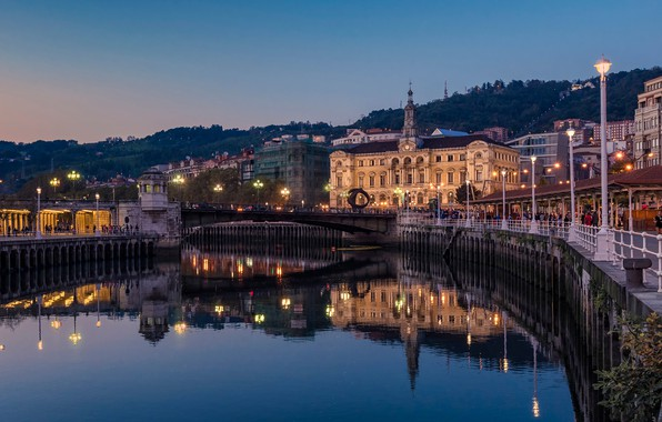 Picture the sky, water, sunset, bridge, lights, reflection, river, home, the evening, lights, Spain, Bilbao