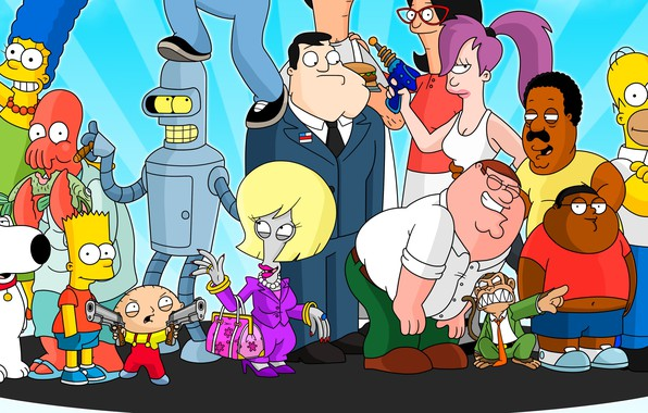 Picture Futurama, cartoon, crossover, Family Guy, The Simpsons, tv series, The Cleveland Show, American Dad!, Bob's …